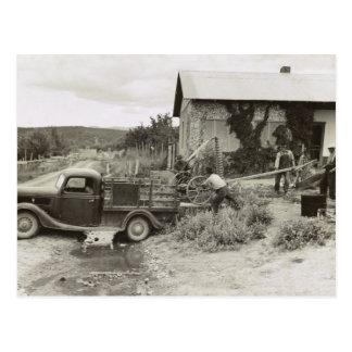 Loading a Mower - 1940 Postcard