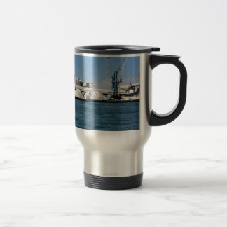 Loading cargo of raw materials from a port mooring 15 oz stainless steel travel mug