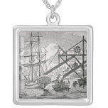 Loading Coal on Cargo Ships Square Pendant Necklace