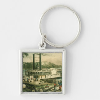 Loading Cotton on the Mississippi, 1870 Keychain