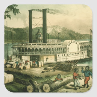 Loading Cotton on the Mississippi, 1870 Square Sticker