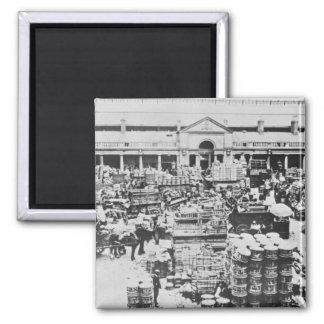 Loading Fruit at Covent Garden Market, 1900 2 Inch Square Magnet