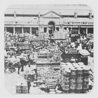 Loading Fruit at Covent Garden Market, 1900 Square Sticker