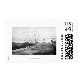 Loading Lumber in General Hubbard Ship Postage