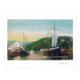 Loading Lumber on Schooners Scene Postcard