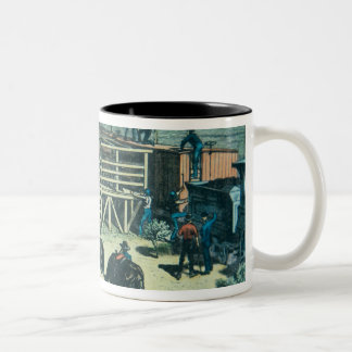 Loading Texas cattle onto a train at Abilene railh Two-Tone Coffee Mug