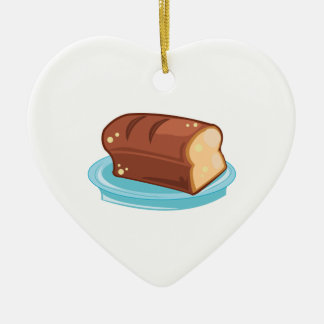 Loaf Of Bread Double-Sided Heart Ceramic Christmas Ornament