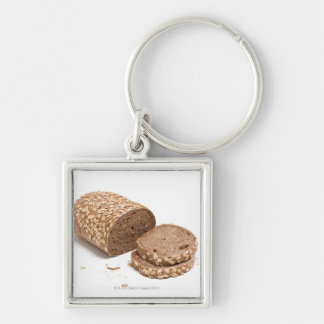 Loaf of bread Silver-Colored square keychain