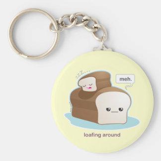 Loafing Around Basic Round Button Keychain