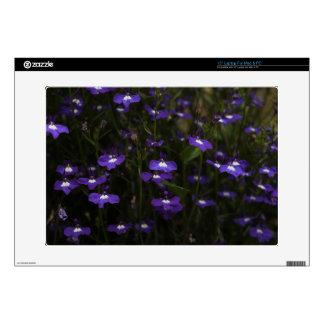 Lobelia, Purple Flowers with Dark Background. Skin For Laptop