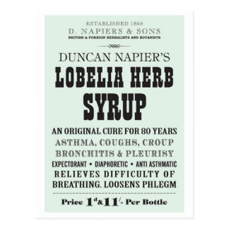 Lobelia Syrup Postcard