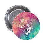 Lobo abstracto artístico de la acuarela rosada de  pin redondo de 2 pulgadas