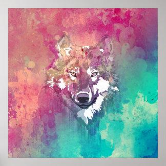 Lobo abstracto artístico de la acuarela rosada de póster