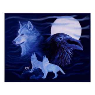 Lobo and Raven with full moon Póster