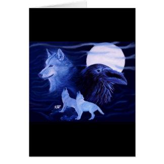 Lobo and Raven with full moon Tarjeta De Felicitación