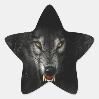 Lobo animal abstracto del gruñido pegatina en forma de estrella