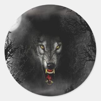 Lobo animal abstracto del gruñido pegatina redonda