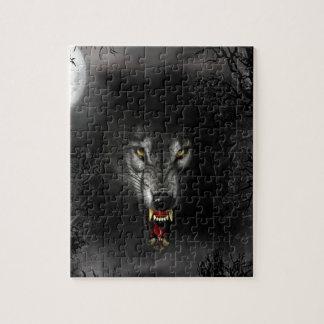 Lobo animal abstracto del gruñido rompecabezas con fotos