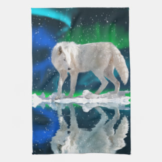 Lobo ártico, aurora y arte descendente de la fauna toallas de mano