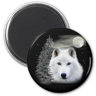 lobo ártico de la nieve imán redondo 5 cm