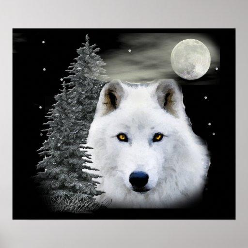 lobo ártico de la nieve impresiones