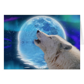 Lobo ártico del grito y tarjeta de felicitación de