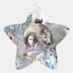 Lobo ártico pegatina en forma de estrella