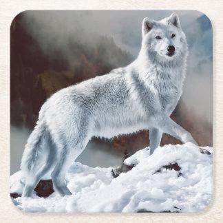 Lobo ártico posavasos desechable cuadrado