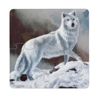 Lobo ártico posavasos de puzzle
