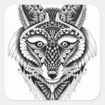 Lobo astuto calcomanía cuadradas personalizada