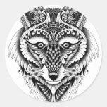 Lobo astuto pegatina redonda