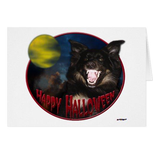 Lobo asustadizo del feliz Halloween Felicitación