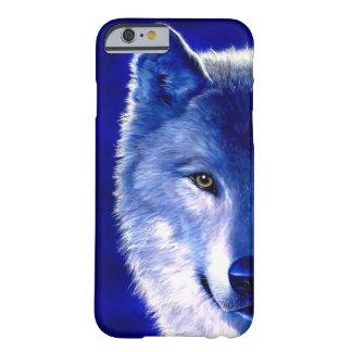 Lobo azul en el caso del iPhone 6 de la noche Funda Para iPhone 6 Barely There