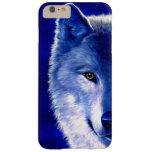 Lobo azul en el caso más del iPhone 6 de la noche Funda De iPhone 6 Plus Barely There
