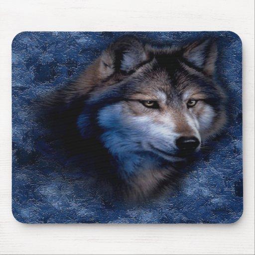 Lobo azul Mousepad Tapetes De Ratón