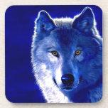 Lobo azul posavasos de bebida