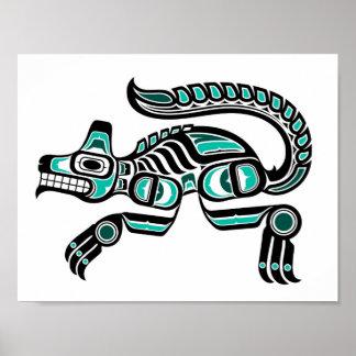 Lobo azul y negro del trullo del Haida del alcohol Impresiones