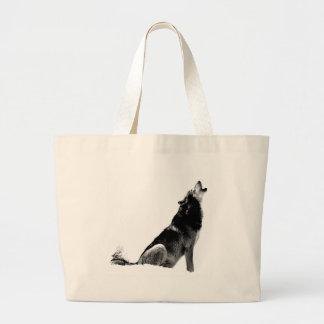 Lobo blanco negro del grito bolsa tela grande