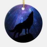Lobo celestial adorno navideño redondo de cerámica