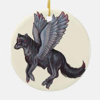 Lobo con alas adorno navideño redondo de cerámica