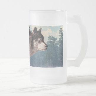 Lobo corriente taza cristal mate