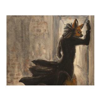 Lobo crinado de Anthro en capa de la matriz Impresiones En Madera