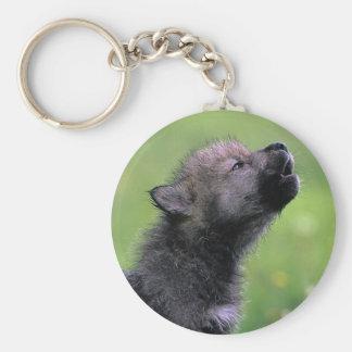 Lobo Cub que grita Llavero Redondo Tipo Pin