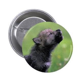 Lobo Cub que grita Pin Redondo De 2 Pulgadas