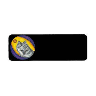 Lobo curativo del Shaman (negro) Etiquetas De Remite