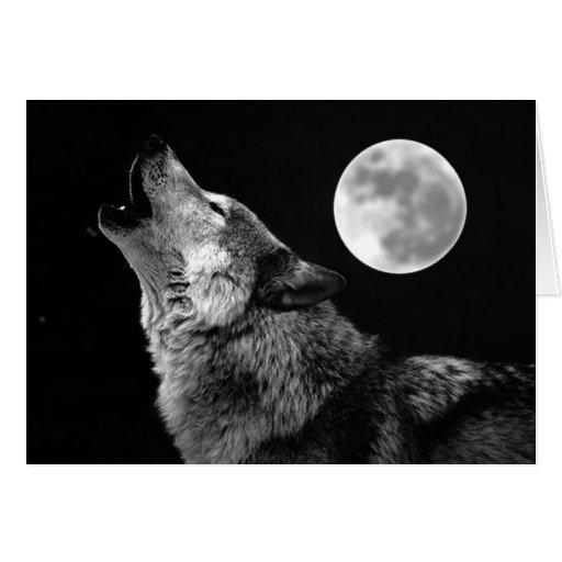 Lobo de BW que grita en la luna Tarjeta De Felicitación