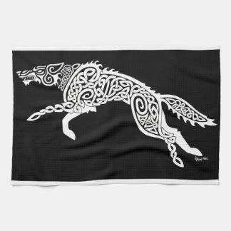 Lobo de Knotwork, blanco en negro Toallas De Cocina