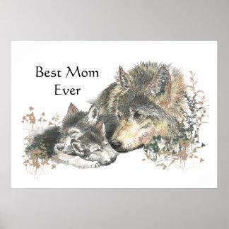 Lobo de la acuarela y mamá de Cub la mejor nunca Póster