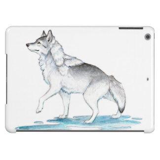 Lobo de la creación del hielo del gris de acero de funda para iPad air