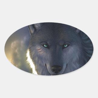 Lobo de la fantasía pegatina ovalada